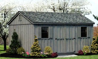10x16 A-Frame, charcoal gray shingles, gray stain, gable vents