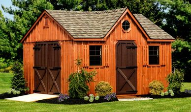 12x14 Dormer, Weatherwood shingles, optional rustic cedar stain, brown painted doors, angled double