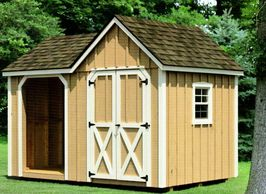 8x12 Wood Shed, Weatherwood shingles, optional tan paint, white trim