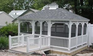Rectangle vinyl gazebo with cupola