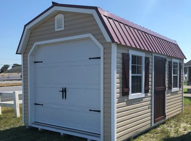 10x16 Classic High Wall Garage shown with optional metal roof