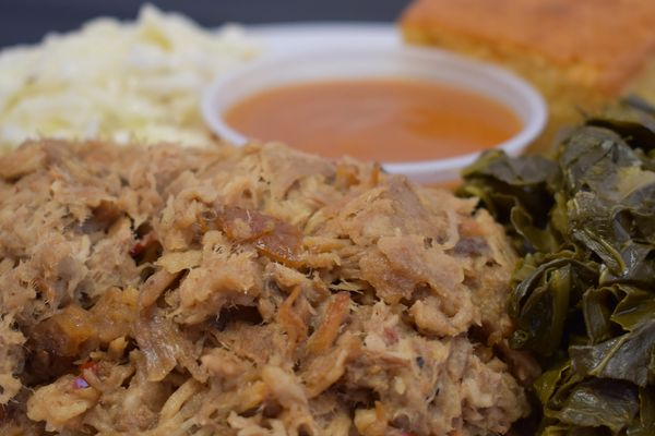 Pulled Pork Greens Cornbread Coleslaw