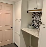 Laundry Room Remodel, Pink Door, Grey slate tile, white cabinets, decorative tile, DIY