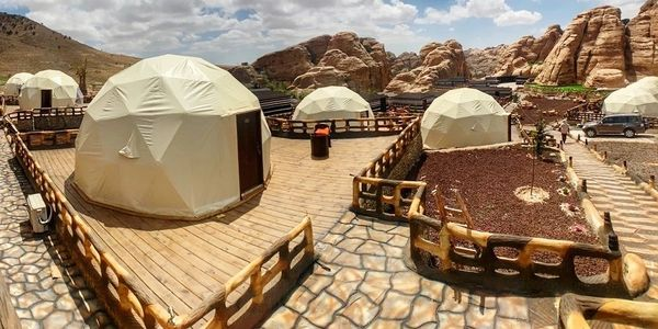 Dome tents at the Seven Wonders Luxury Camp, Little Petra, Petra.