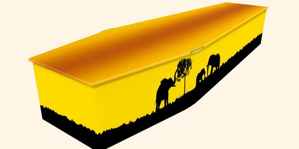 An Eco friendly cardboard coffin with a picture design of the African wildlife, an Elephant
