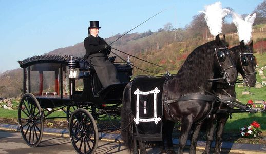 A Horse Drawn Hearse with a pair of black horses