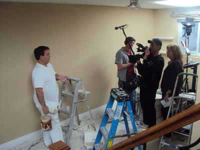 Gareth being recorded by a TV show