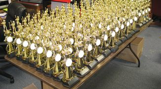 We do large volumes of trophies, no order is to larger or to small!!