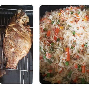 Grilled Fish. Fried Rice