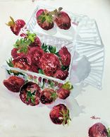 "Watercolor painting of strawberries by artist Sheila Parsons. Art size 15"" H x 11"" W"