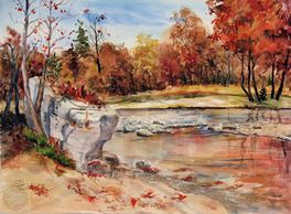 Sample watercolor painting of U. S. landscapes by artist Sheila Parsons
