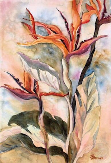 Watercolor painting of flower blooms by artist Sheila Parsons
