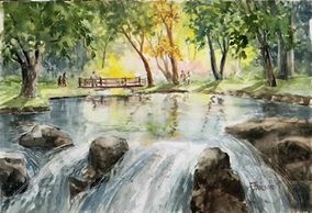 Watercolor painting of small waterfall with trees in background by artist Sheila Parsons