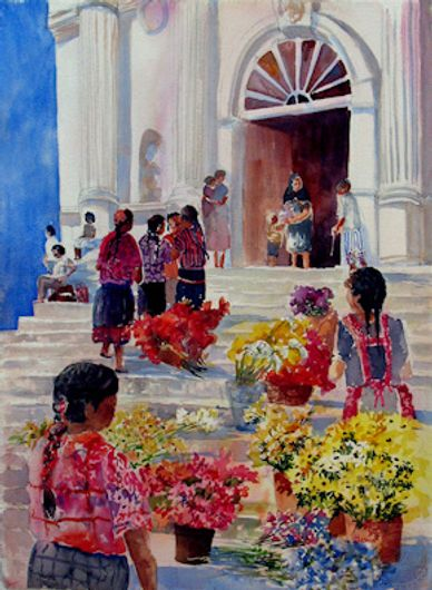 "Watercolor painting of Chichicastenago in Mexico by artist Sheila Parsons  Art size 30""H x 22""W"