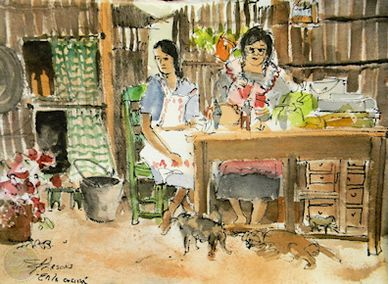 Watercolor painting of Mexican kitchen scene by artist Sheila Parsons