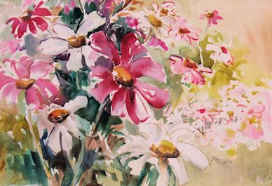 Watercolor painting of mixed flowers by artist Sheila Parsons
