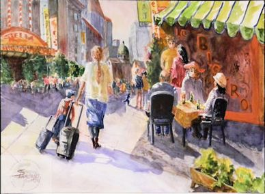 Watercolor painting of street scene in France by artist Sheila Parsons