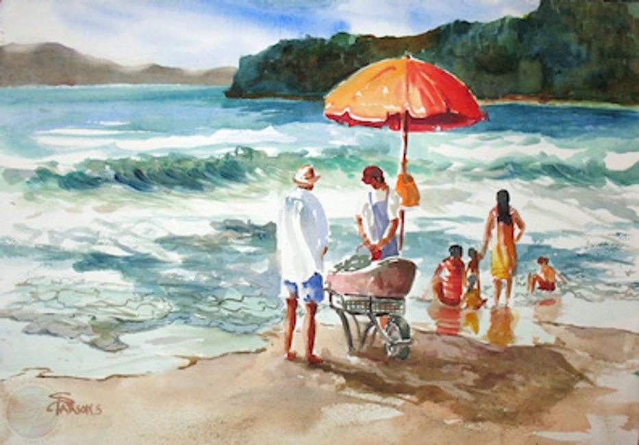 "Beach scene watercolor painted in 2011 15""H x 22""W"