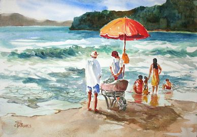 Watercolor painting of beach scene by artist Sheila Parsons
