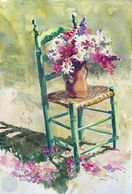 Watercolor painting of flowers in green chair by artist Sheila Parsons