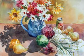"Watercolor painting of flowers and veggies still life by artist Sheila Parsons  Art size 15""H x 22""W"