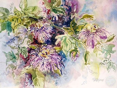 Watercolor painting of passion flowers by artist Sheila Parsons