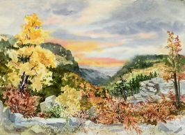 Watercolor painting of view from Petit Jean Mountain in Arkansas by artist Sheila Parsons