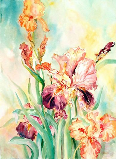 Watercolor painting if irises by artist Sheila Parsons.
