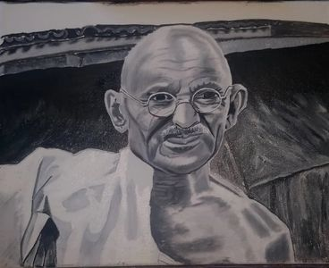 I wanted to paint Gandhi and so I found a black-and-white picture of him and I painted a portrait.