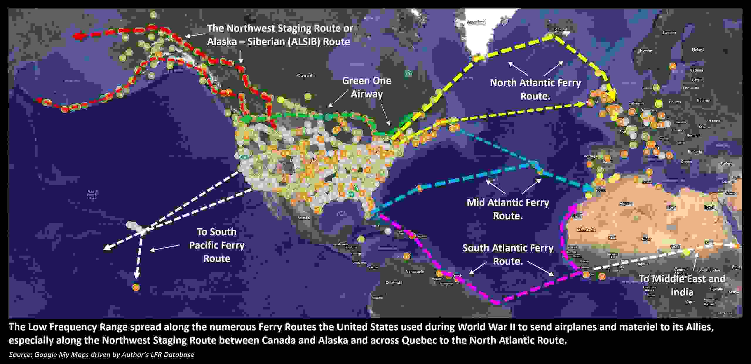 Low Frequency Radio Range, Four Course Radio Range: World War II Ferry Routes and LFR Spread