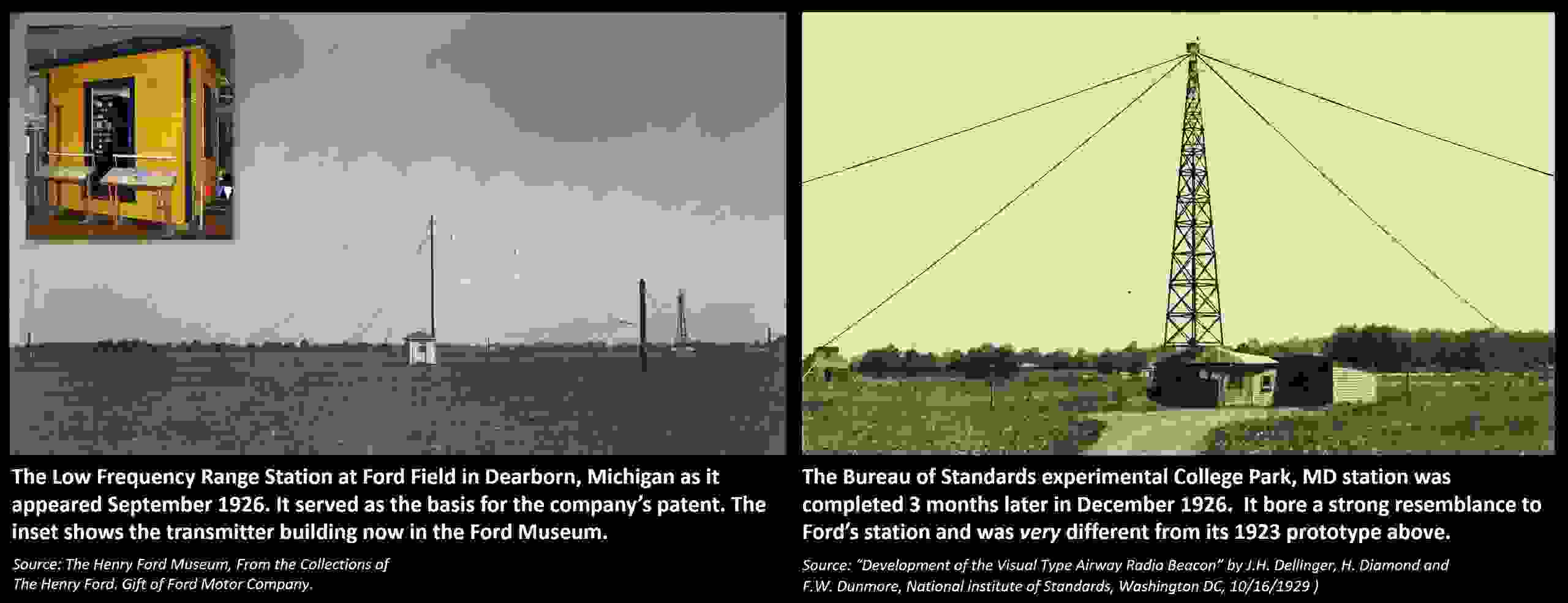 Low Frequency Radio Range, Four Course Radio Range: Ford Dearborn and College Park Radio Beacons