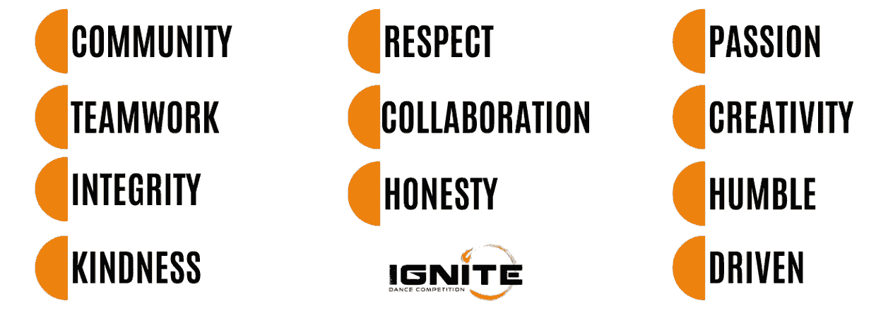 Core Values of Ignite Dance Competition