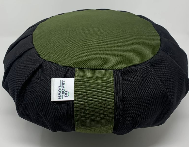Armor Down Black and hunter green meditation cushion.