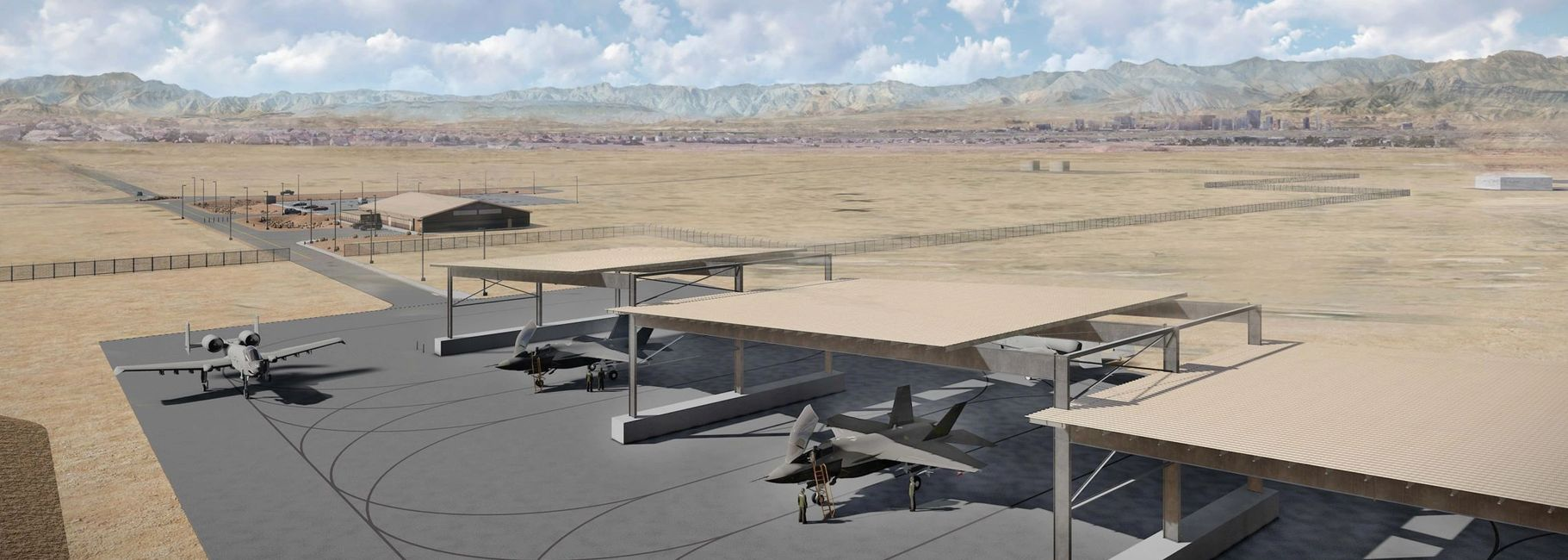 A10 Warthog and F35A Lightning prepare for flight at Nellis Air Force Base, renderings done by WERK