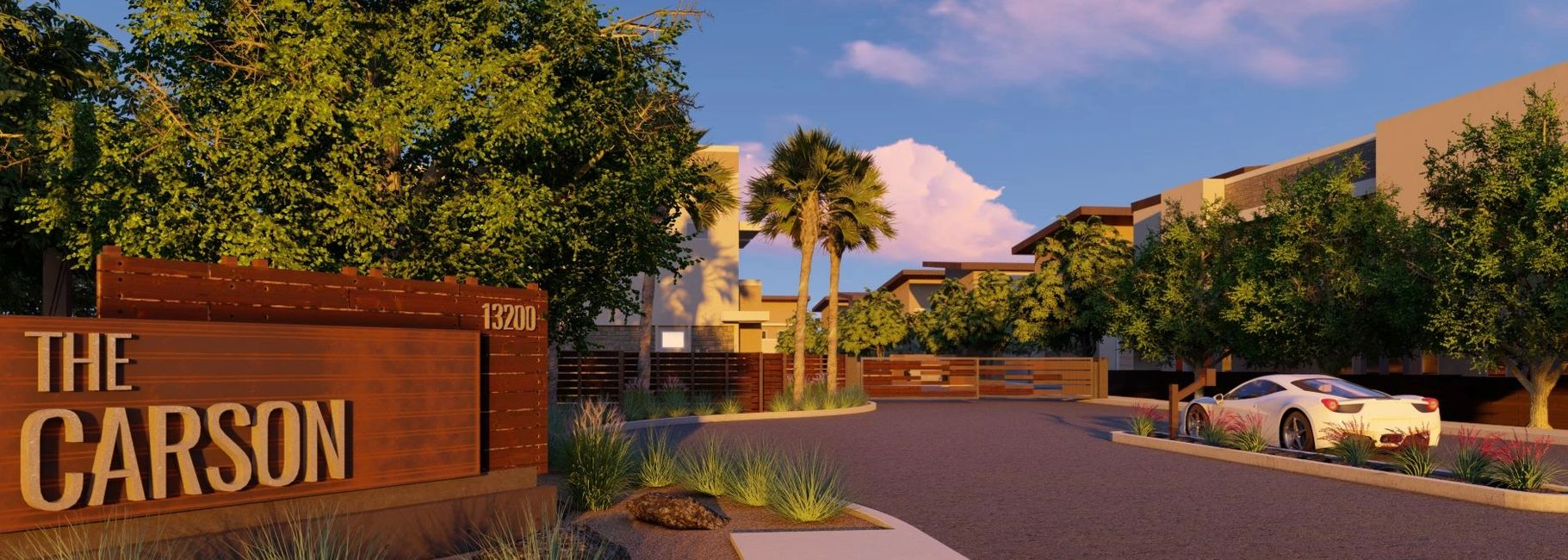 The Carson Townhomes rendering from WERK landscape architecture in Gilbert Arizona