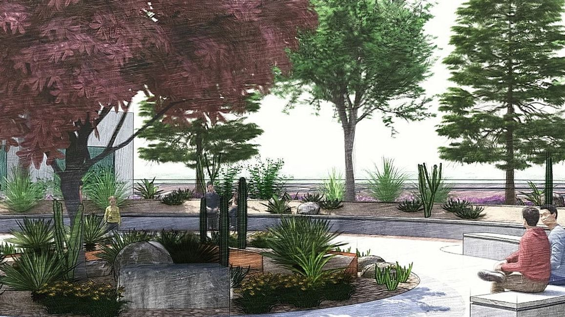 Landscape architecture rendering of Veterans Reflection Circle in Honor of SFC Brian Mancini by WERK