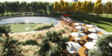 Landscape Architecture rendering of natural swimming pool amenity area at Wellspring Park designed by WERK | urban design and engineering in Goodyear, Arizona