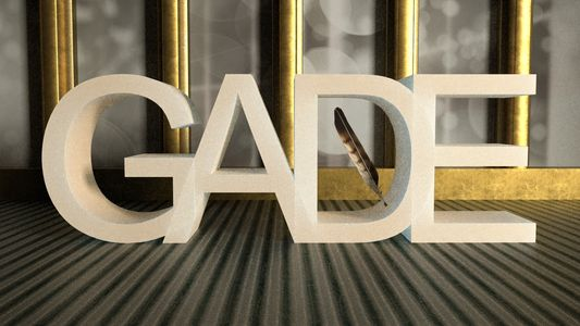 GADE Logo white and metal Georgia Association for Developmental Education