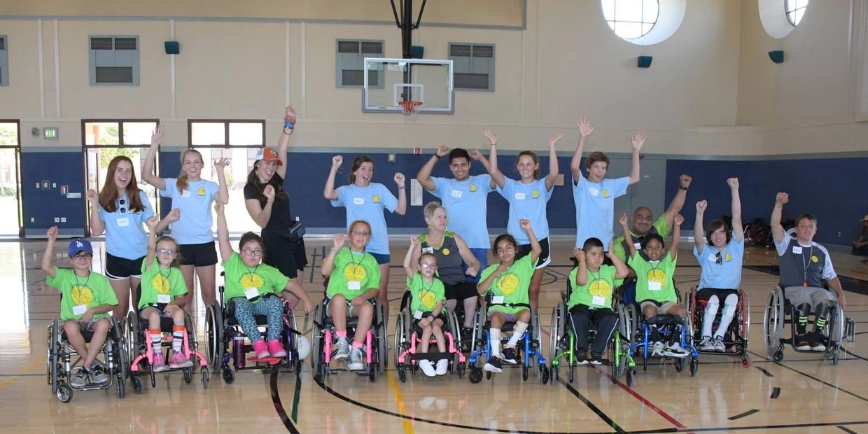 Campers & volunteers at the Cottage Hospital Jr Wheelchair Sports Camp.