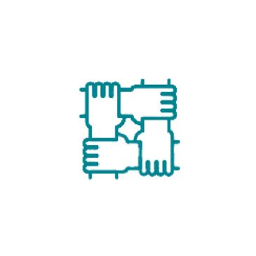 graphic made of four hands holding each other by the wrist making a square to show support and unity
