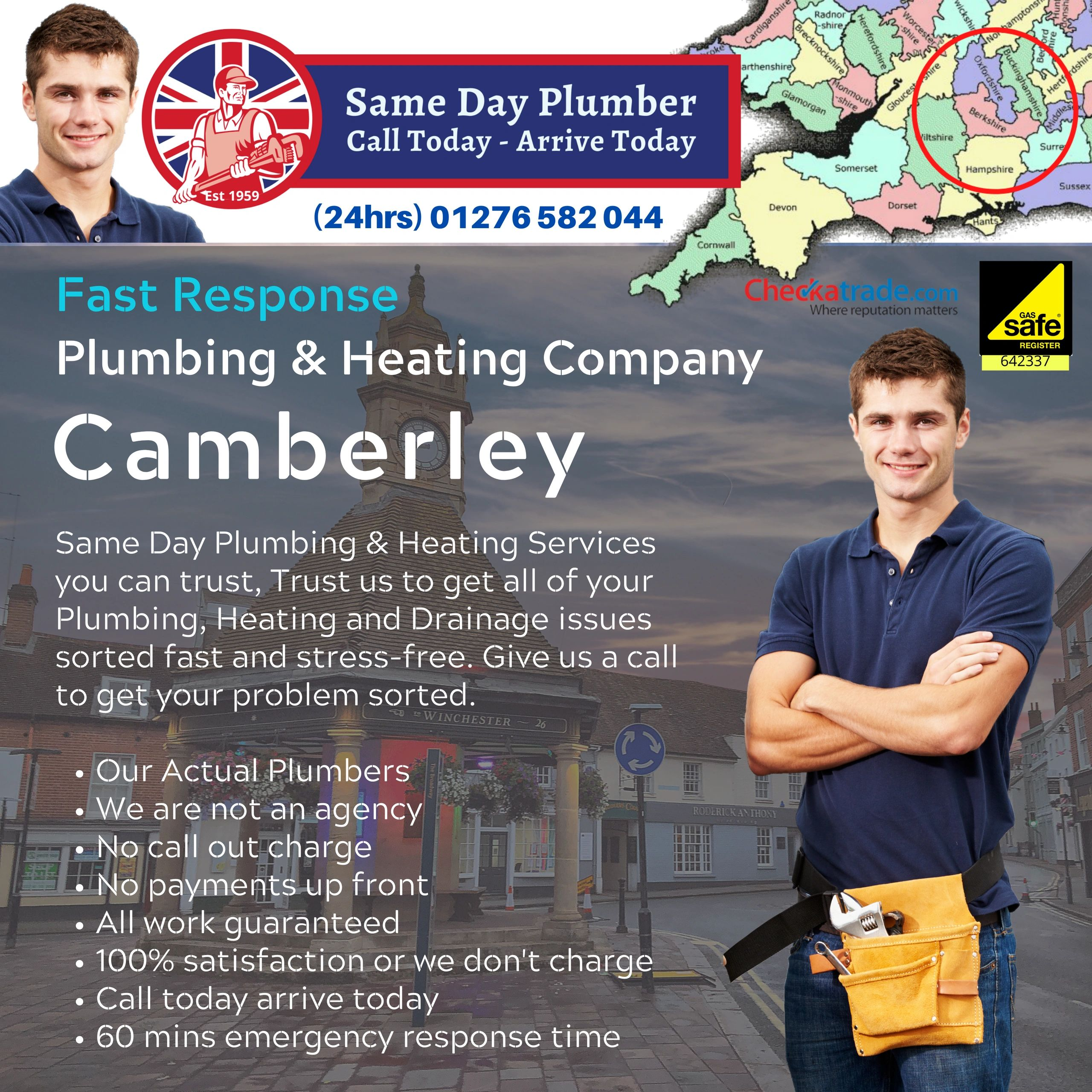 WELCOME TO SAME DAY PLUMBER IN CAMBERLEY