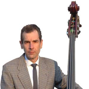 Mark Curtis promotional photo with double bass.