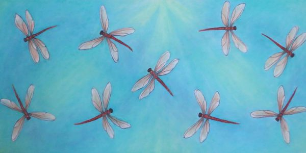 Dragonfly Dance. 2017/18 Oil on canvas. for sale at the Carnegie Gallery Dundas, On.