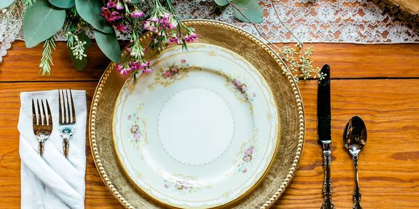 We love to pull out our vintage dishes! What an elegant place setting! Carla Gates Photography