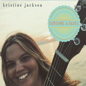 Kristine Jackson's Sunshine & Blues Album cover head-shot with guitar neck with beach background MusicByKJ Christine Jackson