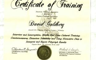 Specialized Training Certificate in Interviewing and Polygraph Interpreting and Reporting Results.