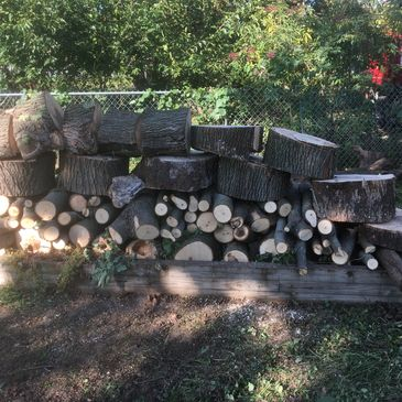 an expertly stacked wood pile