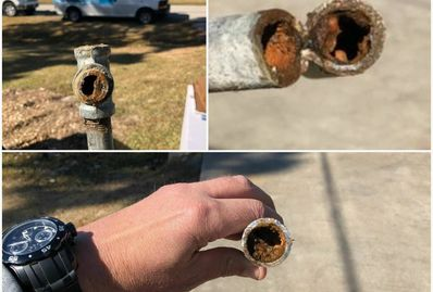 Rusted, galvanized pipe before repipe.