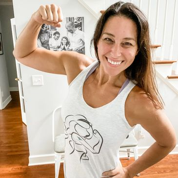 Christina's sweaty selfie with jasmine strong tank from Disney