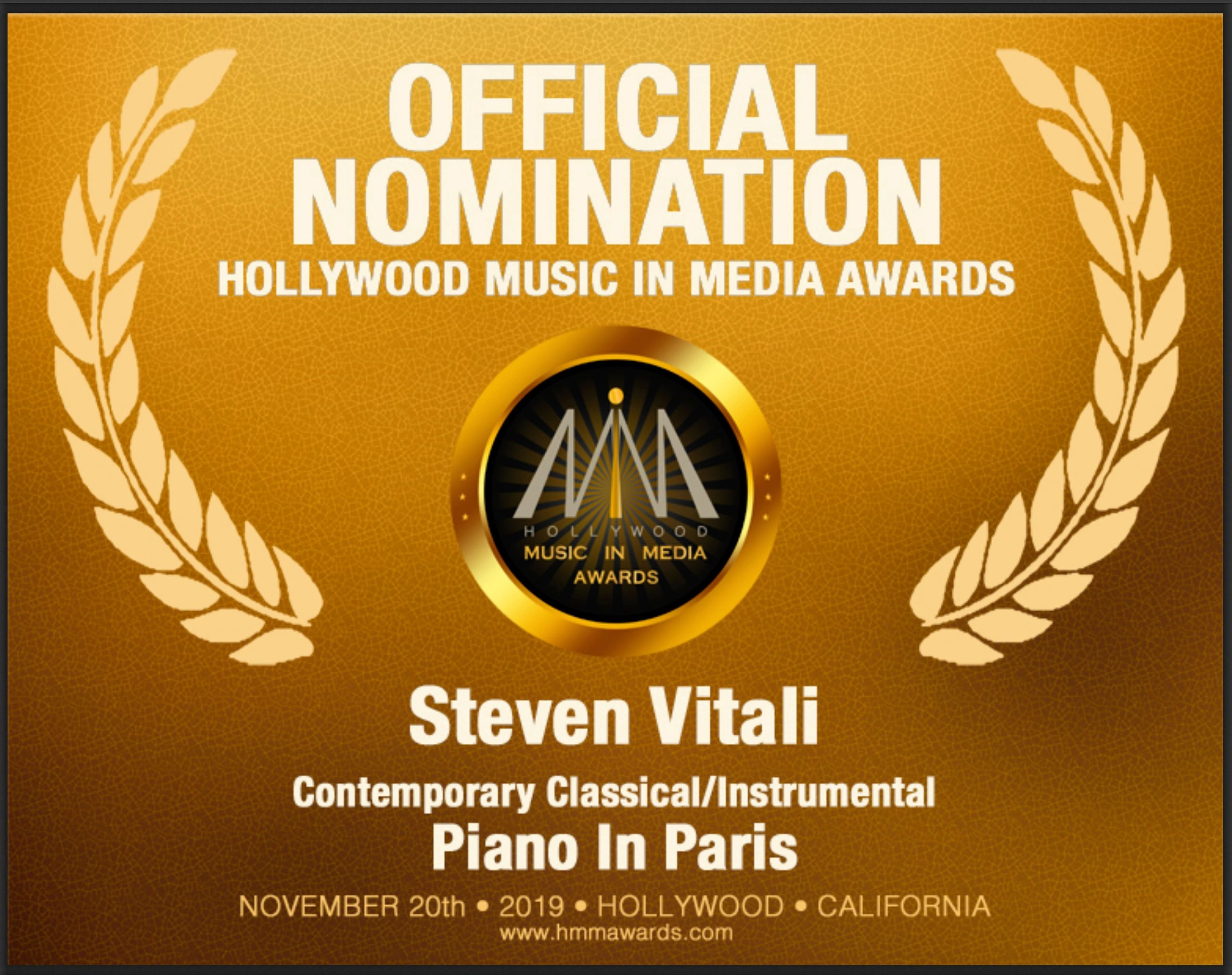 Steven Vitali's Piano In Paris receives Hollywood nomination for Best Instrumental 2019